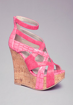 bebe Maya Caged Cork Wedges