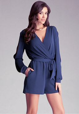 bebe Cold Shoulder Tie Romper