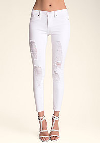 bebe Destroyed Skinny Jeans