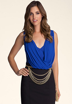 bebe Layered Draped Chain Belt