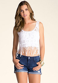 bebe Crochet Fringe Top