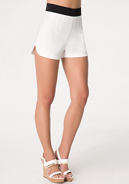 Contoured Hem Panel Shorts at bebe