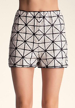 bebe Sequined High Waist Shorts