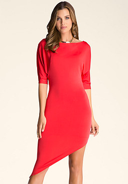 bebe Asymmetric Boatneck Dress