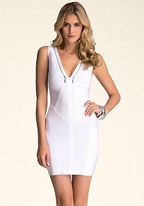 Zipper Strap Detail Dress at bebe