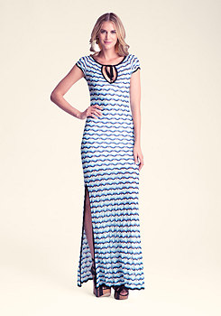 CHEVRON KNIT MAXI DRESS at bebe