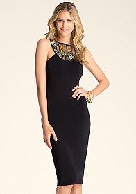 bebe Embellished Neck Midi Dress