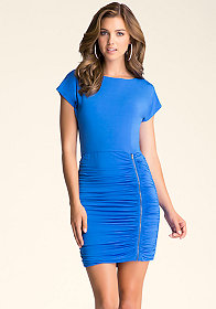 bebe Boat Neck Shirred Dress