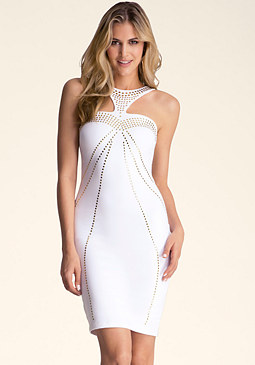 Neck Embellished Midi Dress at bebe
