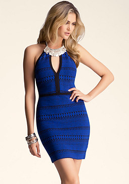 bebe Keyhole & Necklace Dress