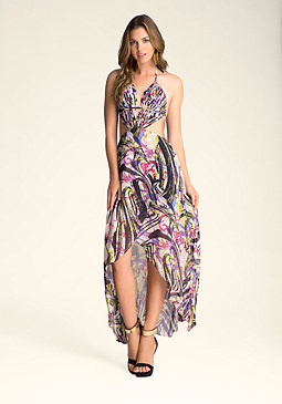 Hi-Lo Fringe Detail Dress at bebe