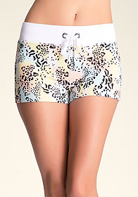 bebe Leopard Swoon Shorts�