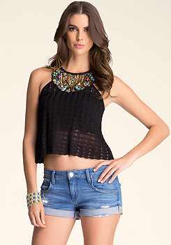 Jewel Neck Halter Sweater at bebe