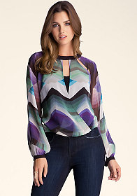 Long Sleeve Surplice Top at bebe