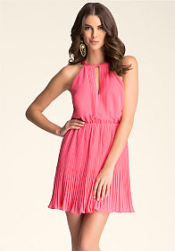 bebe Pleated Halter Dress