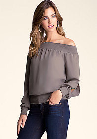 bebe Smocked Shoulder Top