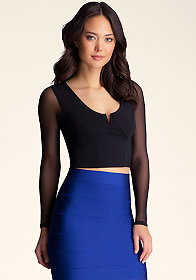 bebe Mesh Caged Cropped Top