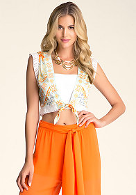bebe Printed Crop Top