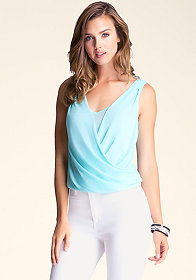 bebe Double V Sleeveless Top