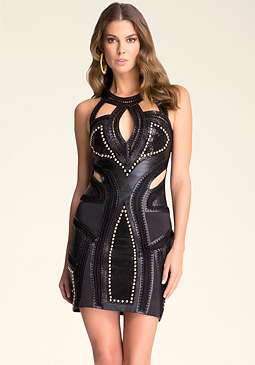 Leather Trim Cutout Dress at bebe