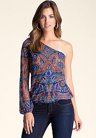 bebe Print Asymmetric Top