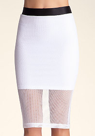 Colorblock Mesh Midi Skirt at bebe