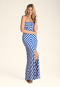 STRIPE HALTER MAXI DRESS at bebe