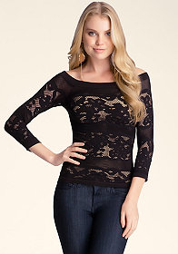 bebe Off Shoulder Lace Top