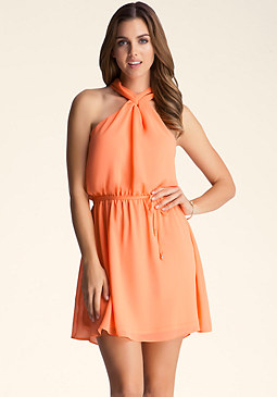 bebe Crew Neck Pleated Dress