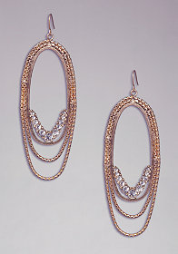 bebe Chainlink & Crystal Hoops