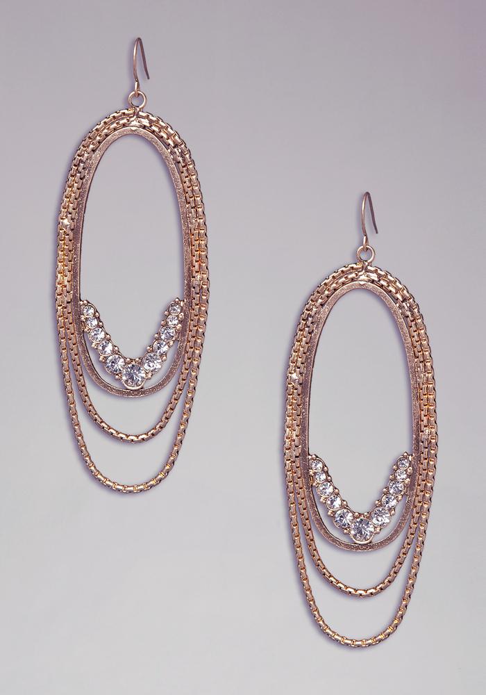 Chainlink & Crystal Hoops