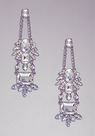 FLORAL CRYSTAL EARRINGS at bebe