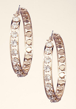 Crystal Wrapped Hoops at bebe