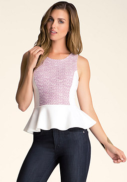 Tweed Peplum Top at bebe