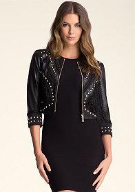 bebe Crochet Leather Jacket