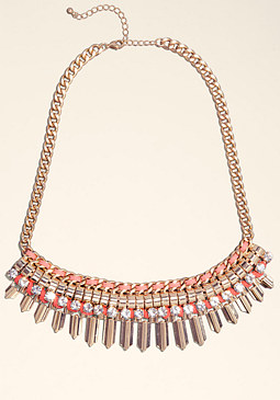 bebe Crystal Chainlink Necklace