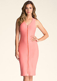 bebe Textured Zipper Midi Dress