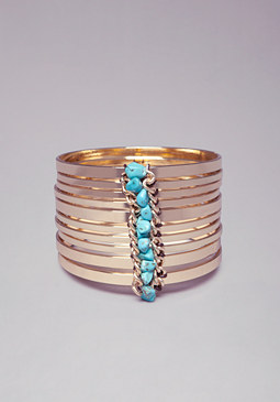 bebe Stone & Chain Bangle Set