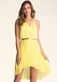 bebe Pleated Hi-Lo Cutout Dress
