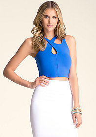 ASYMMETRIC CUTOUT CROP TOP at bebe