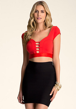 CAP SLEEVE CAGE CROP TOP at bebe