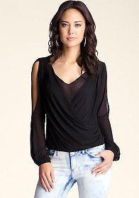 bebe Double V Cold Shoulder Top