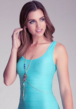 bebe Crystal Pendant Body Chain