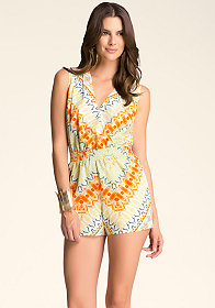 Print Wrap Front Romper at bebe