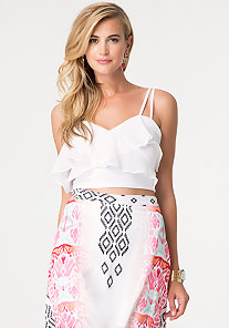 Ruffle Surplice Crop Cami at bebe