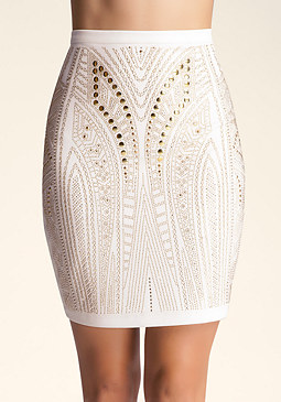 bebe Heavy Embellished Skirt
