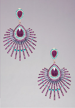 CRYSTAL STARBURST EARRINGS at bebe