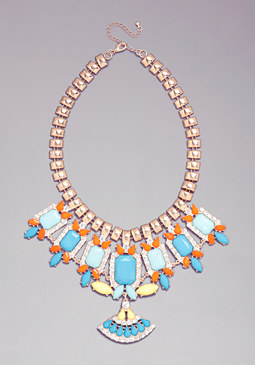 bebe Multi-Stone Bib Necklace