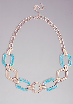GEO SNAKE PRINT NECKLACE at bebe