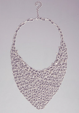 Crystal Bib Chain Necklace at bebe